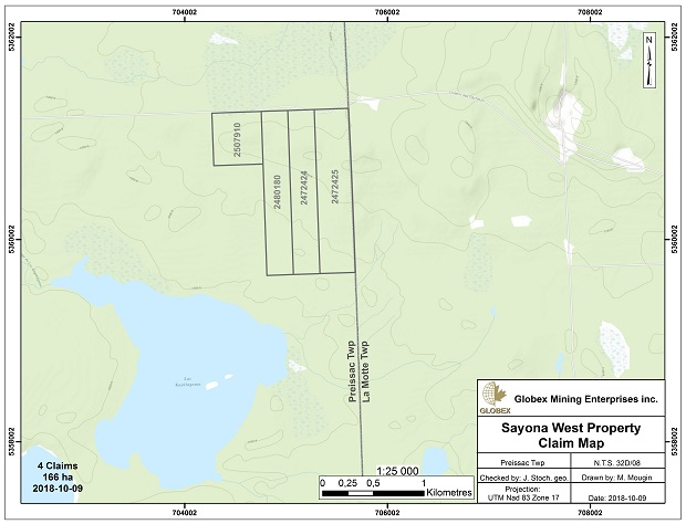 Sayona West Claim Map