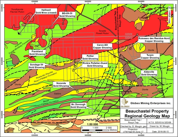 beauchastel geology map Globex 2016