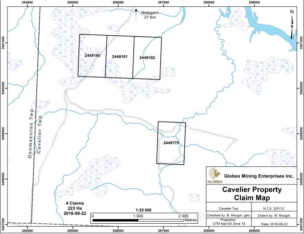 Cavelier claim map Globex dec 2016