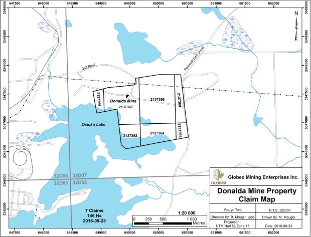 Donalda Mine claim map 2016