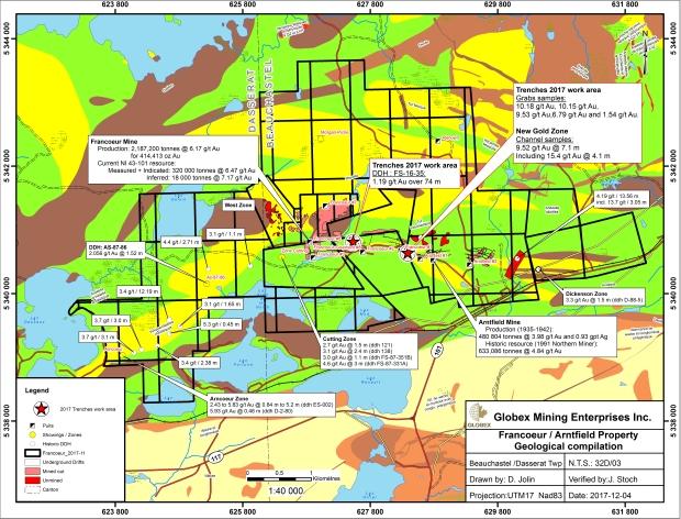 Geological map Francoeur Mine 2017