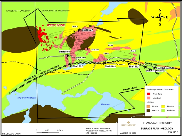 Francoeur Mine Property Surface Geological Plan