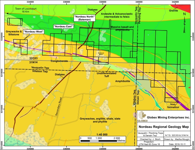 Nordeau Regional Geology Map October 2016