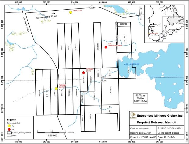 Ruisseau Marriot - claim map 2017