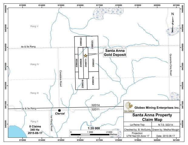 Santa Anna Claim Map august 2015