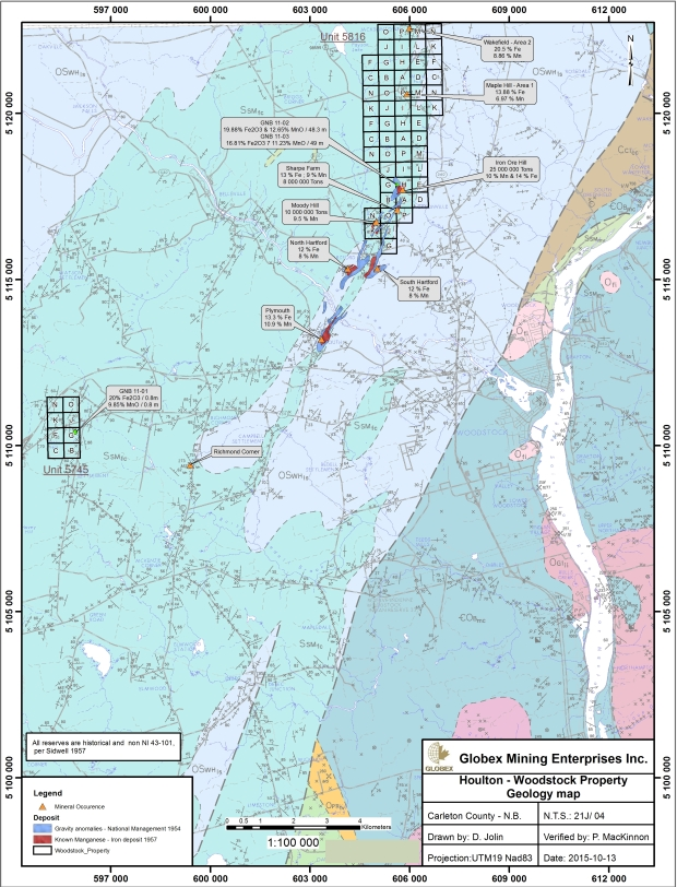 Houlton Woodstock Geology Map 2016